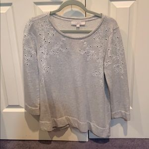 Grey with embroidered shoulder sweatshirt pullover
